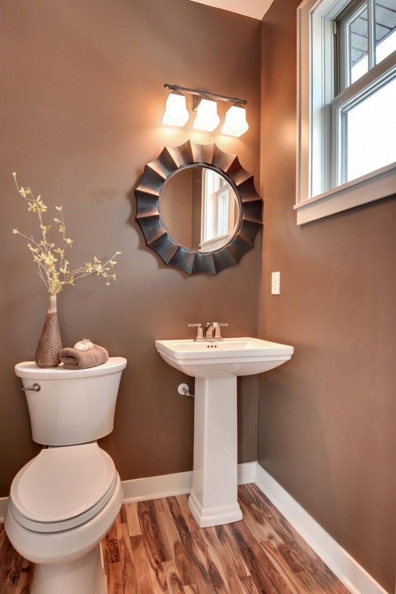 Gäste WC Gestaltung Beispiele Wandfarbe Schokoladenbraun Akzenbeleuchtung