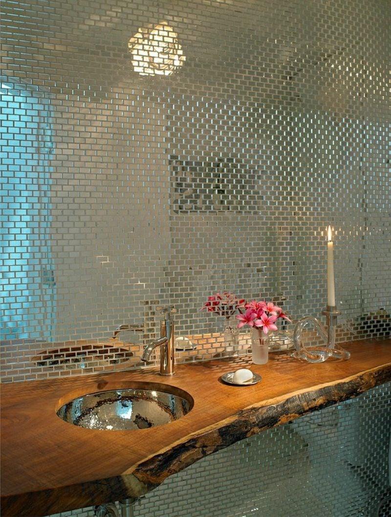 Gäste WC Gestaltung Beispiele Spiegelwand Mosaik