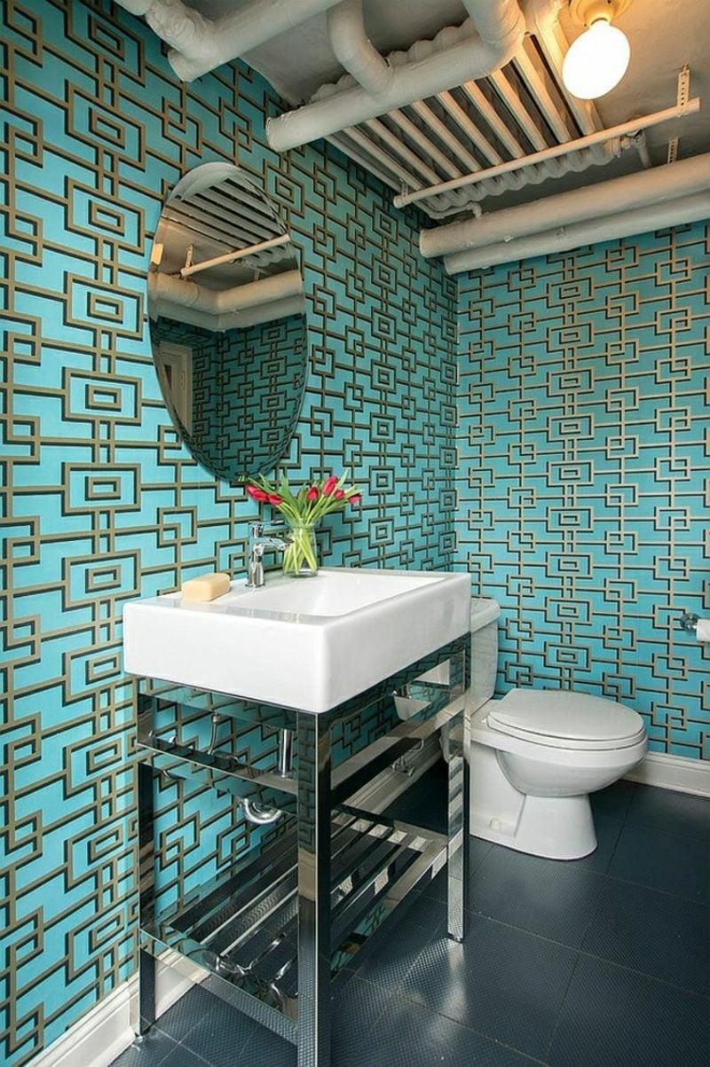 Gäste WC Gestaltung Beispiele originelle Tapeten geometrisch