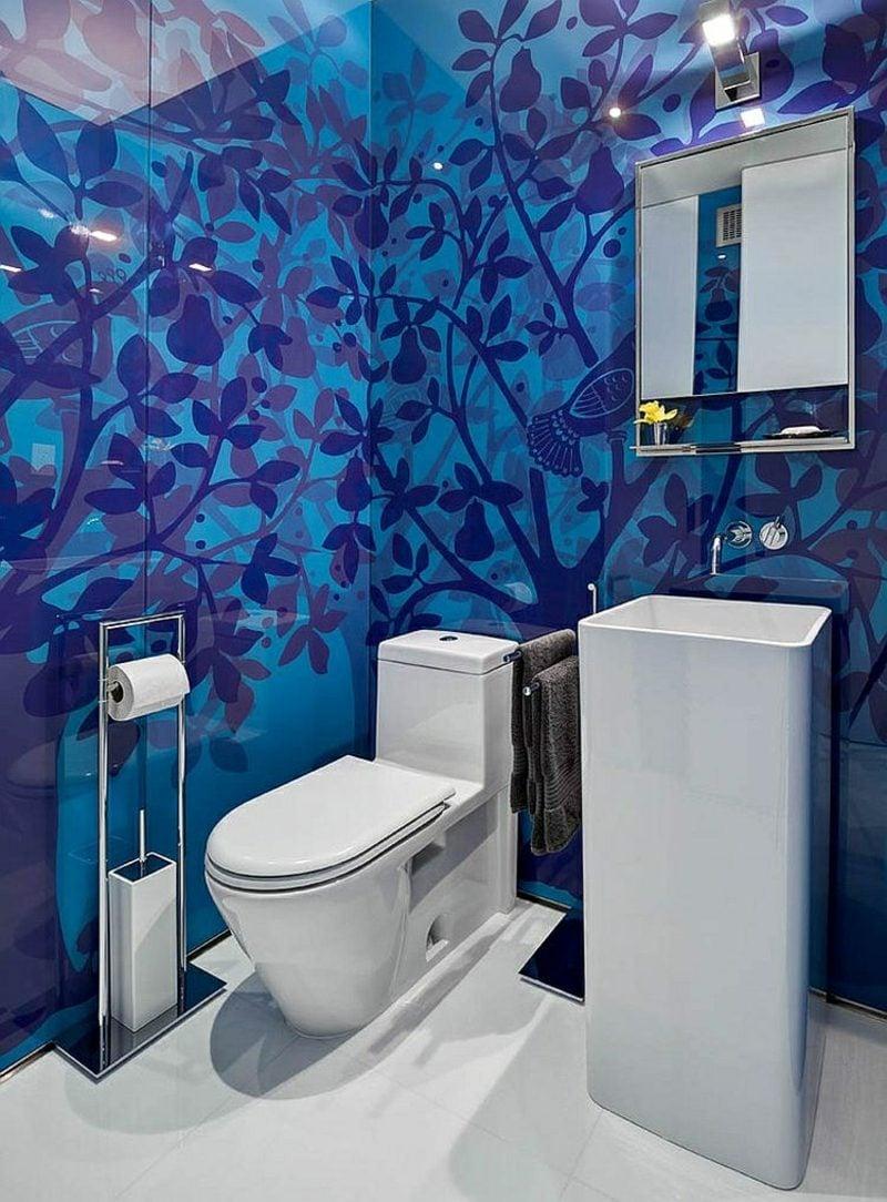 Gäste WC Gestaltung Beispiele herrliche blaue Tapeten