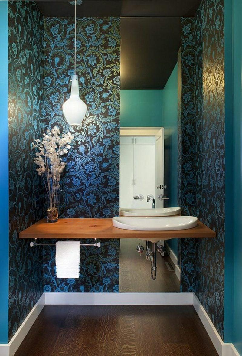 Gäste WC Gestaltung Beispiele herrliche Tapaten