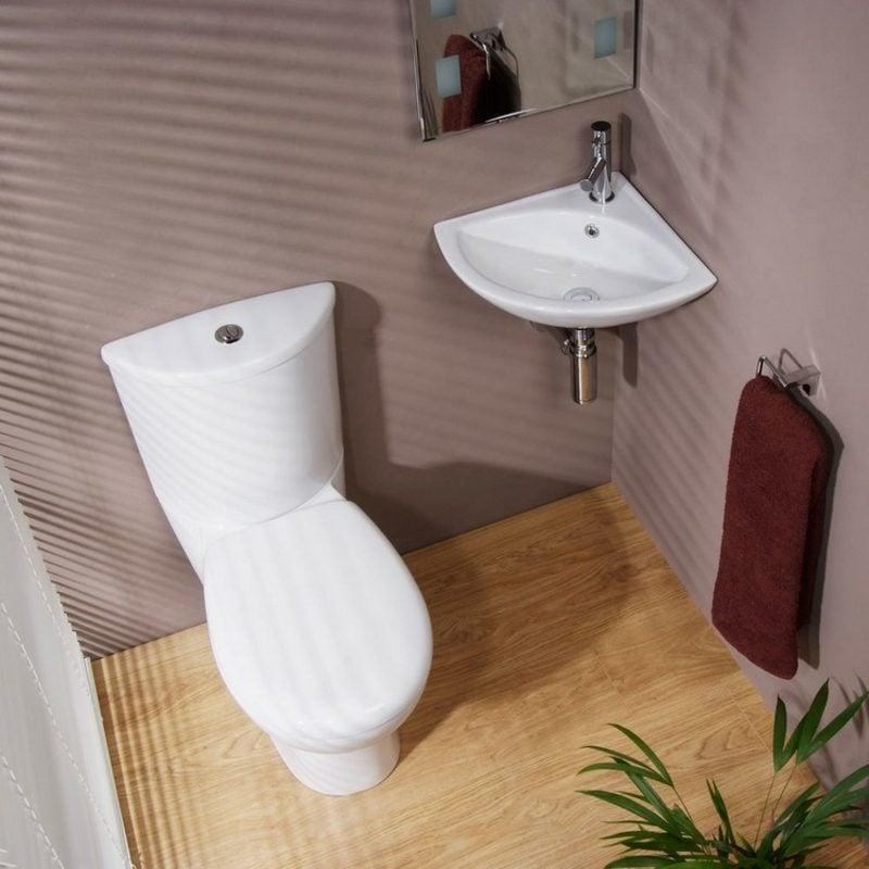 Gäste WC Gestaltung Beispiele kleiner Raum Eckwaschbecken