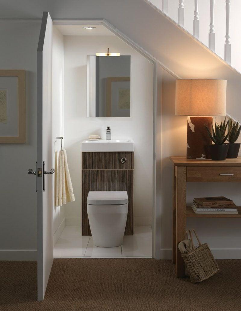 Gäste WC Gestaltung Beispiele klein unter der Treppe