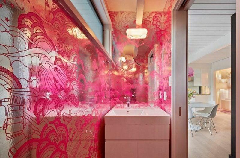 Gäste WC Gestaltung Beispiele Glaspaneele farbig