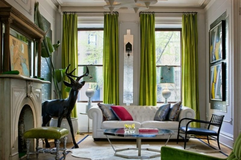 Gardinen Wohnzimmer frische Idee in Hellgrün