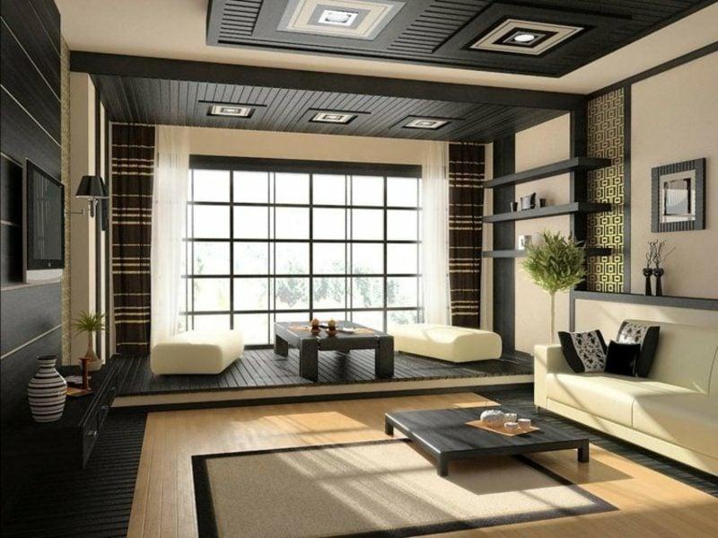 Gardinen Wohnzimmer stilvoll geometrische Muster