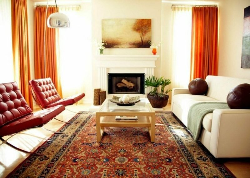 Gardinen Wohnzimmer als Akzent Orange