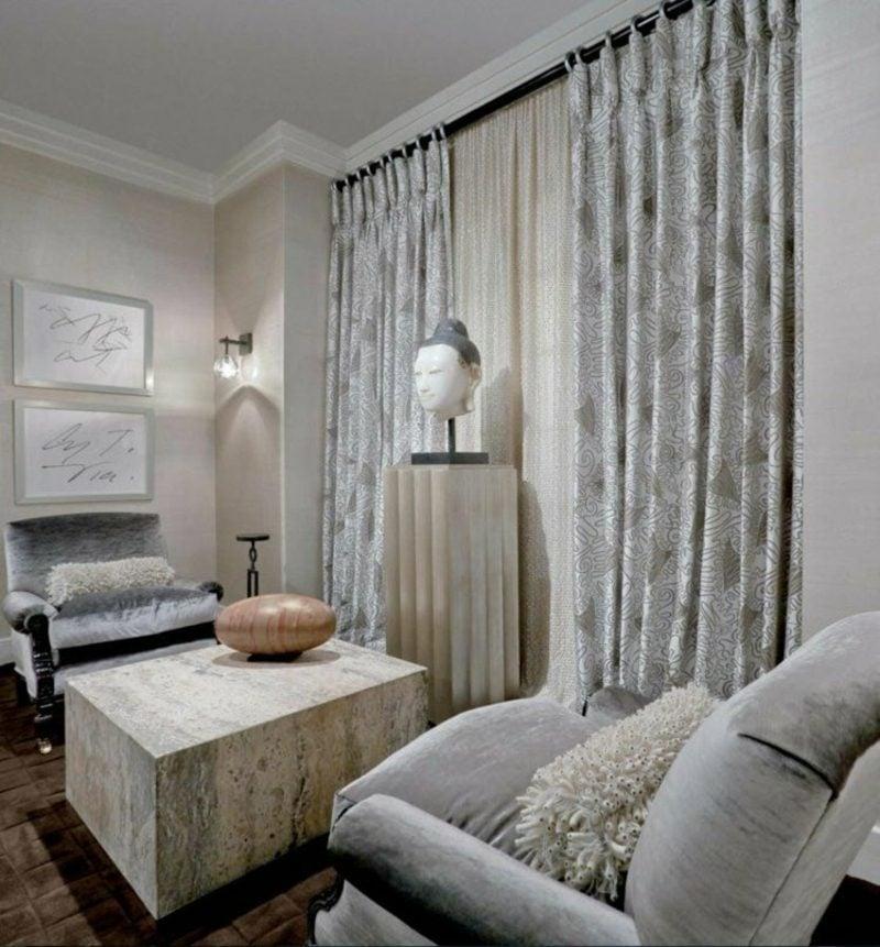 Gardinen Wohnzimmer tolle Muster Perlengrau
