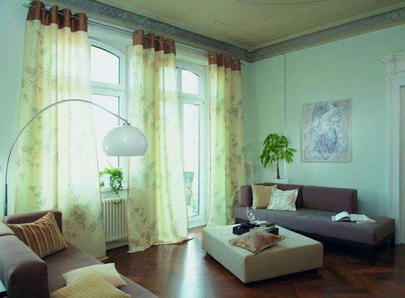 Gardinen Wohnzimmer romantisches Design hellgelb