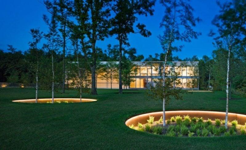 Gartengestaltung modern geometrische Formen Akzentbeleuchtung