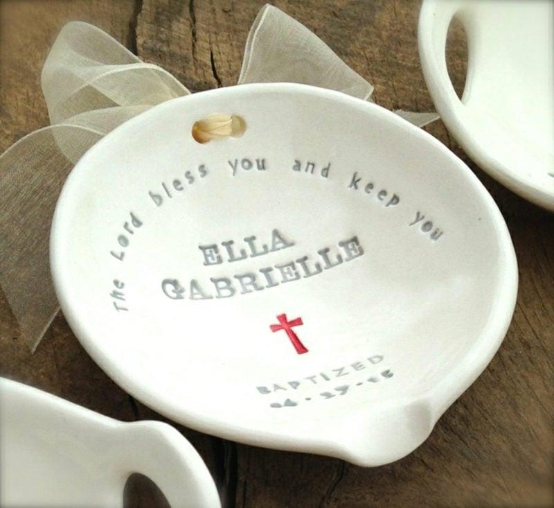 Geschenke zur Taufe dekorativer teller individuell gestaltet