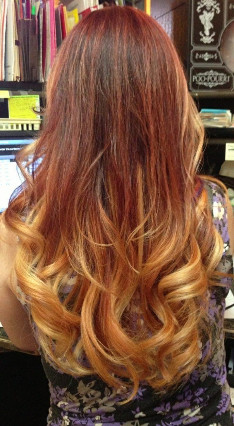 Haarfarbe Caramel Blond herrlicher Ombre Look