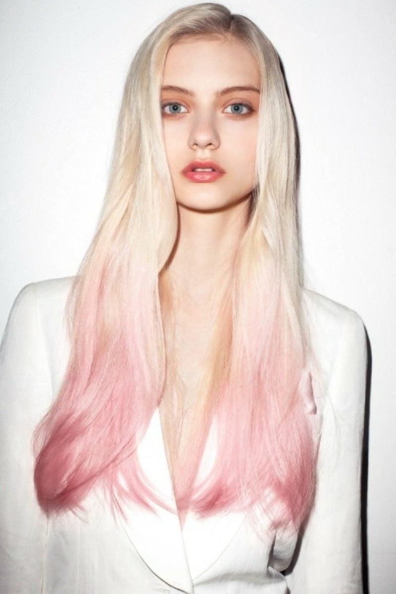 pastellrosa Haare färben Ombre Look