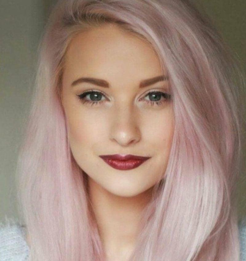 pastellrosa Haare färben modern und elegant