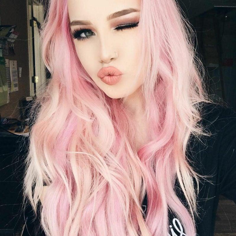 pastellrosa Haare färben angesagt romantisch