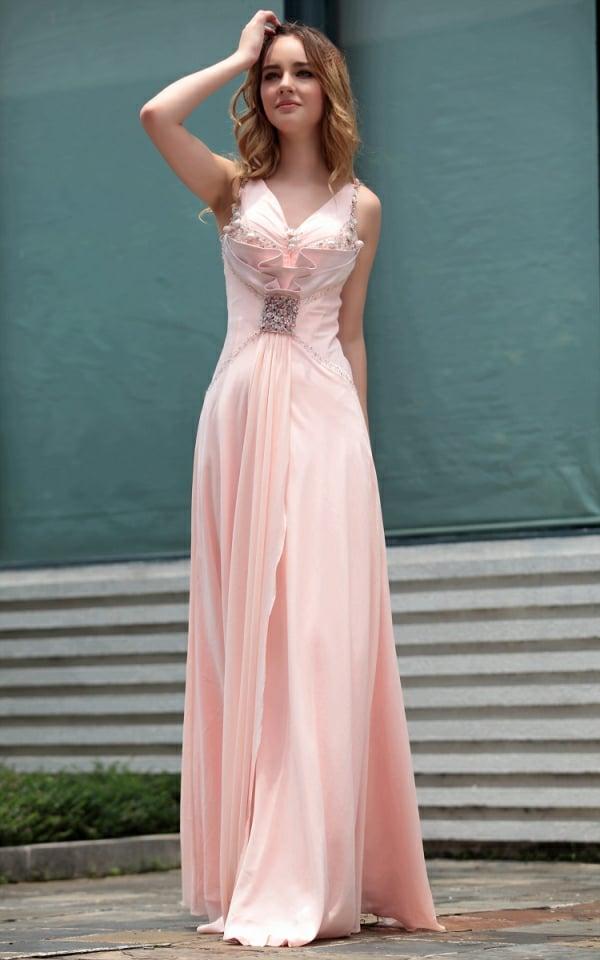 Kleider für Hochzeitsgäste lang mit Schmucksteinen dekoriert