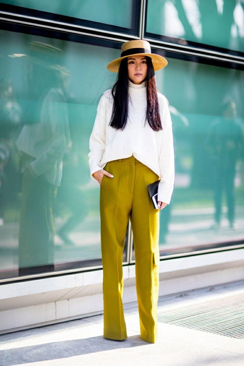 weite Damenhosen modern Limettengrün