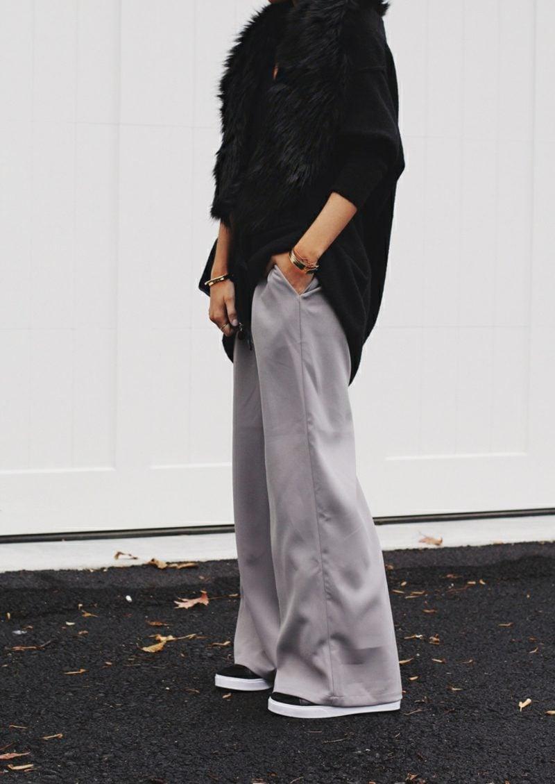 weite Damenhosen grau Oversize