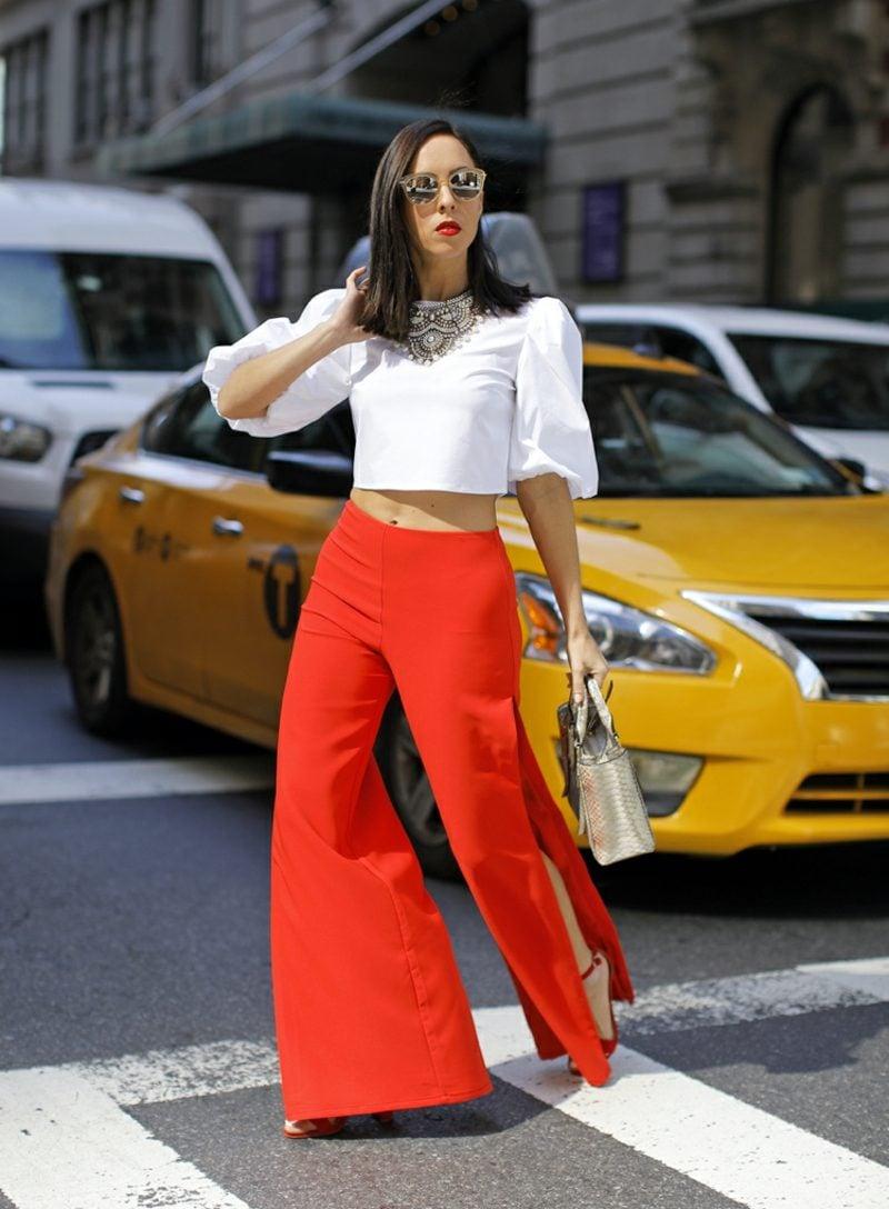 weite Damenhosen rot mit Schlitz