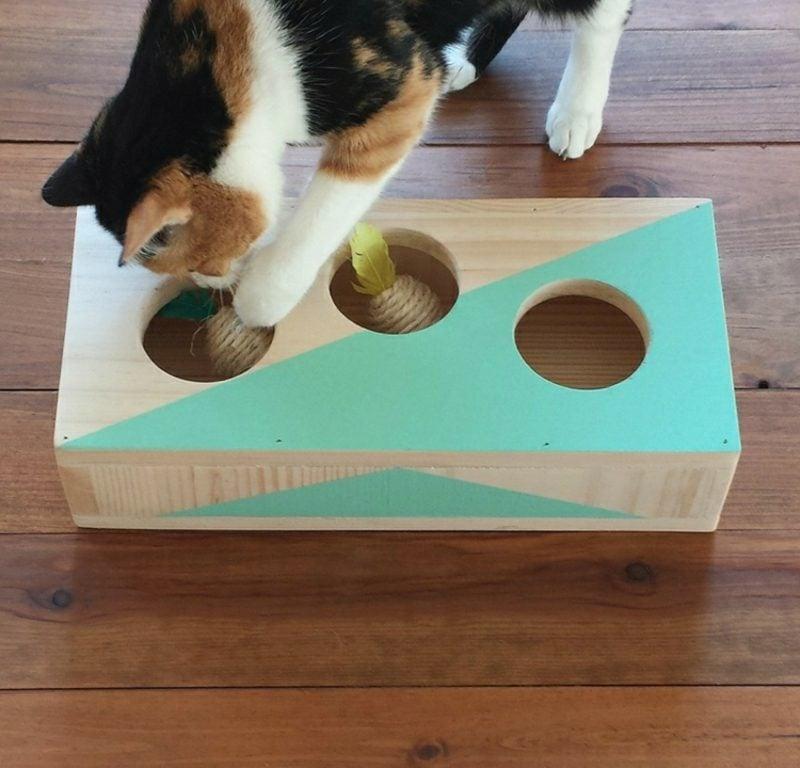 Katzenspielzeug selber machen Holzschachtel Maus