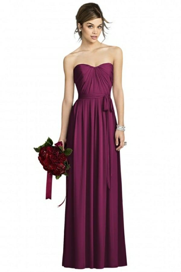 Kleider für Hochzeitsgäste Herzausschnitt Weinfarbe