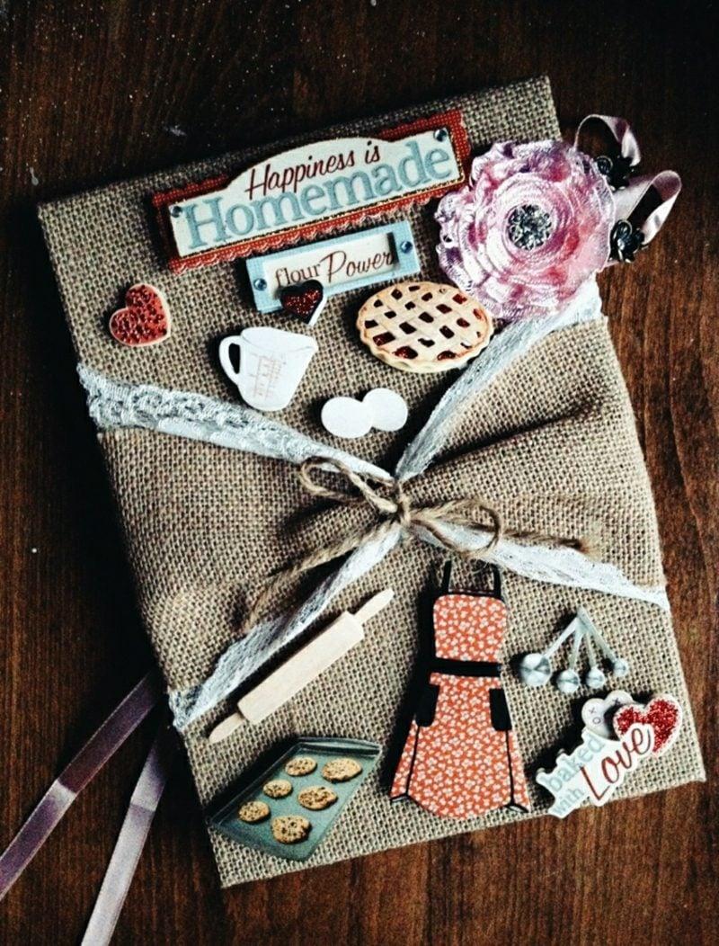 Kochbuch selbst gestalten und mit Leinstoff verkleiden