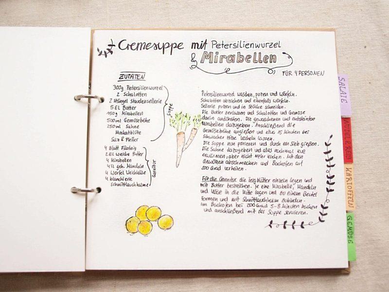 Kochbuch selbst gestalten und mit Zeichnungen dekorieren
