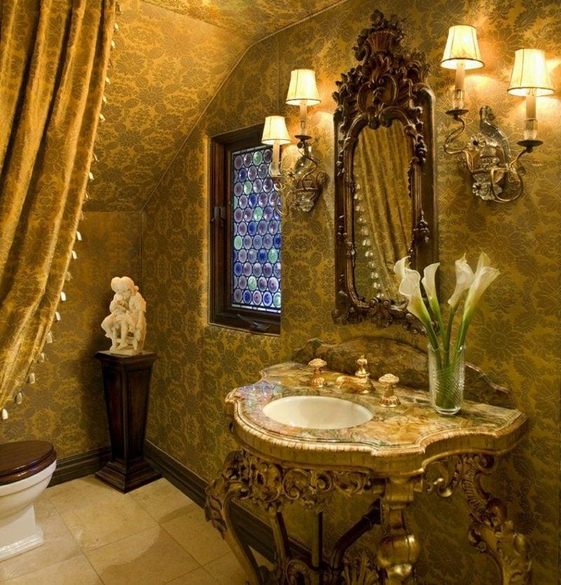Gäste WC Gestaltung Beispiele prachtvoll Barock Stil