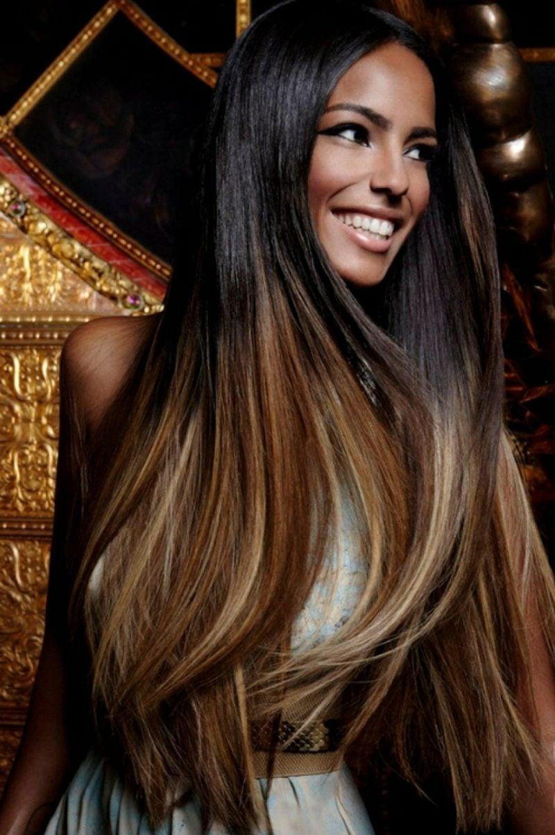 Haarfarbe Caramel Blond lange Haare Ombre Effekt