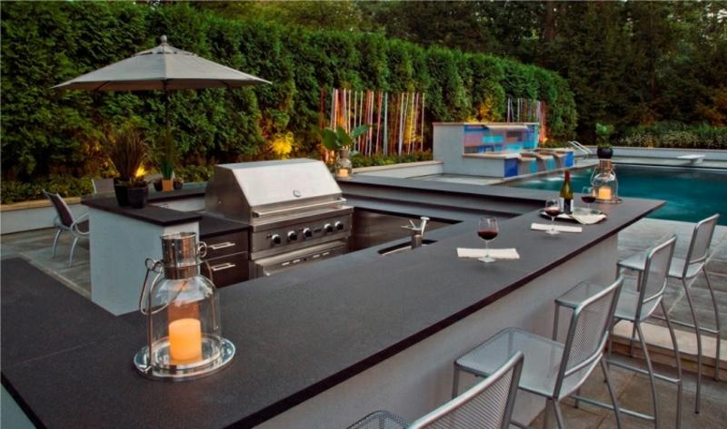 Gartengestaltung modern Outdoor Küche einrichten