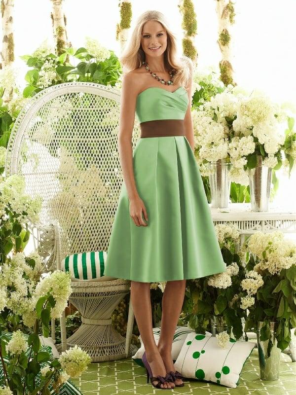Kleider für Hochzeitsgäste Pfefferminzgrün Braun