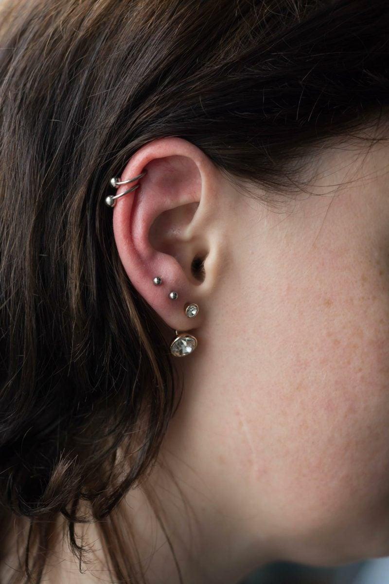 Helix Piercing zwei Ringe