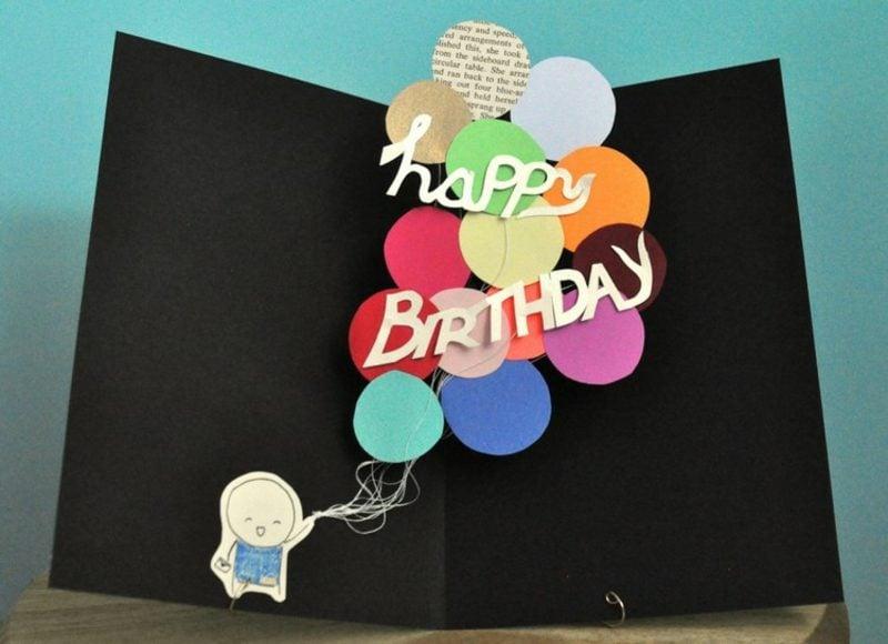 Lustige Gebutstagskaten basteln Pop up Karte Luftballons