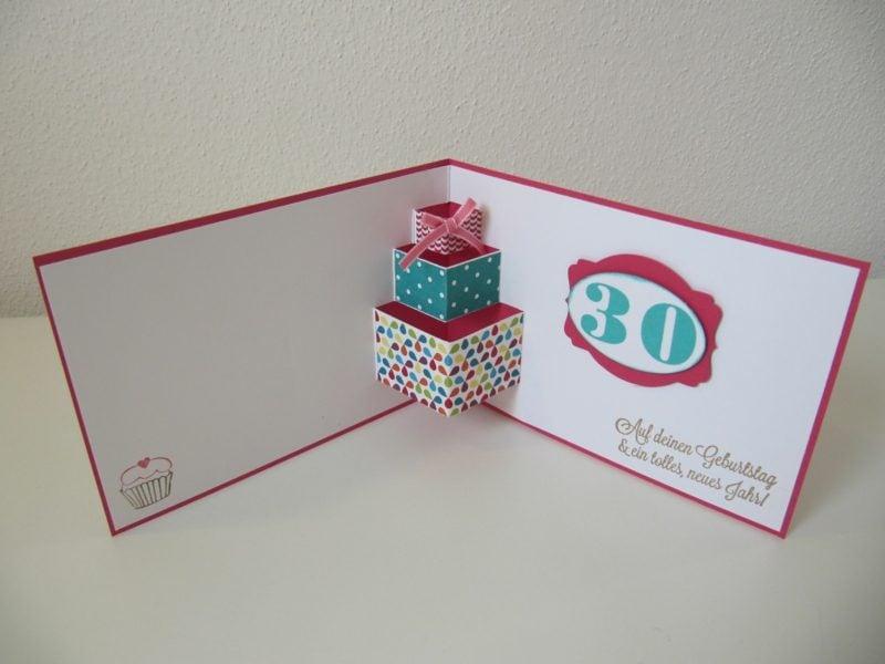 Lustige Gebutstagskaten basteln originelle Pop up Karte geschenke