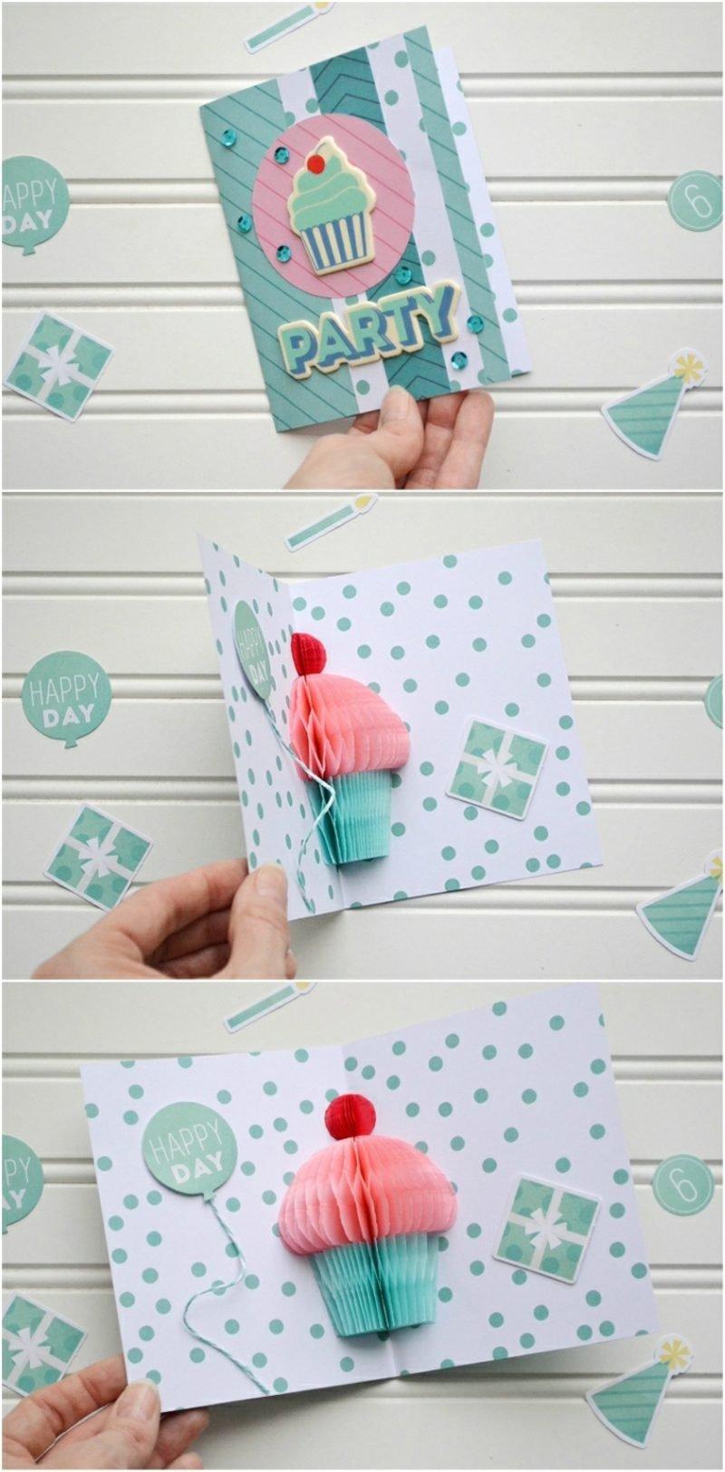 Lustige Gebutstagskaten basteln Pop up Karte mit Cupcake