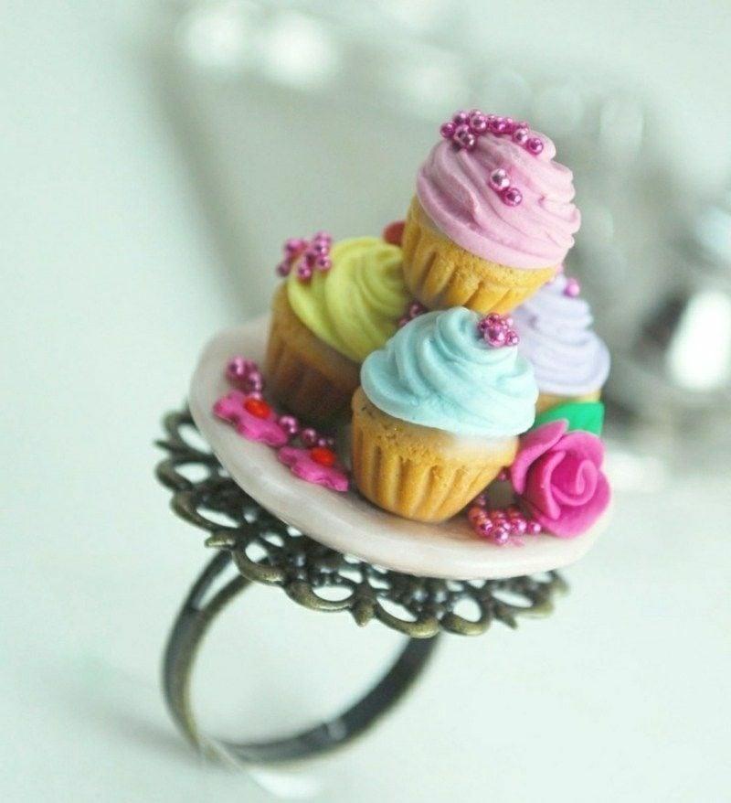 Geschenkideen beste Freundin selber machen Ring aus Modelliermasse