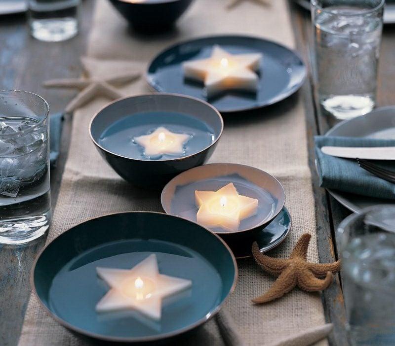 Bastelideen für Erwachsene schwimmende Kerzen Stern