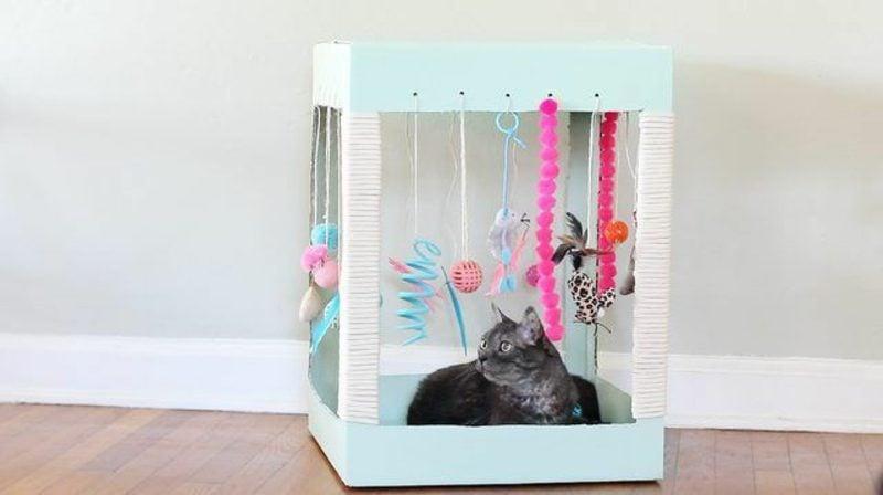 Katzenspielzeug selber machen Spielraum gestalten