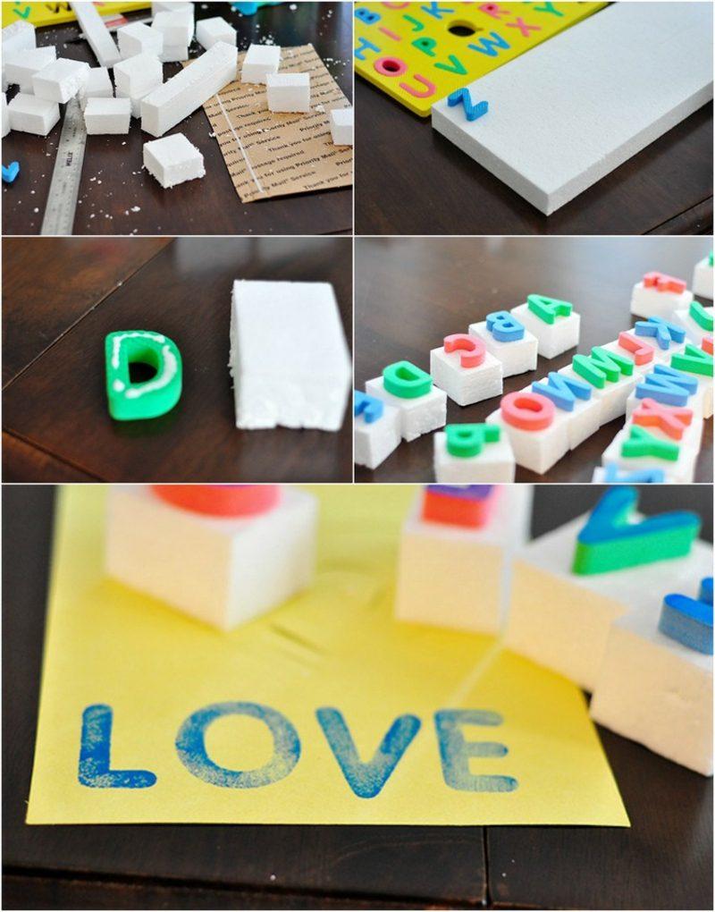 Stempeln mit Kindern Stempel Buchstaben