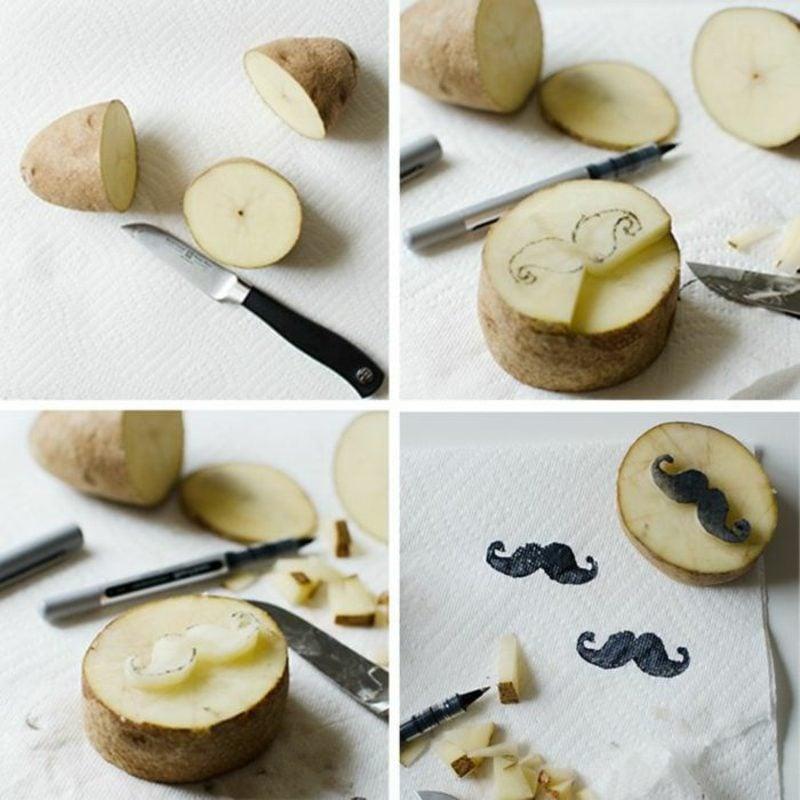 Stempeln mit Kindern Stempel aus Kartoffel ausschneiden