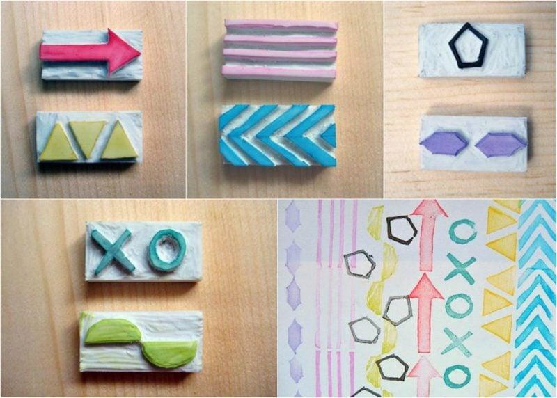 Stempeln mit Kindern Stempel aus Radiergummi selber machen