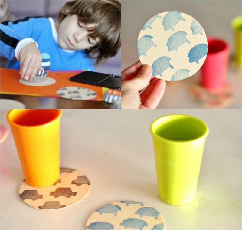 Stempeln mit Kindern Untersetzer dekorieren