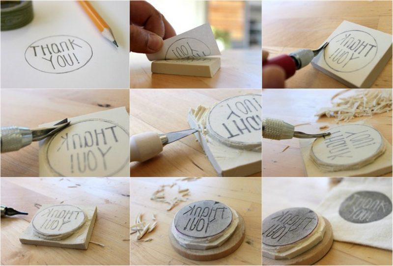 Stempeln mit Kindern Stempel mit Schrift selber machen Anleitung