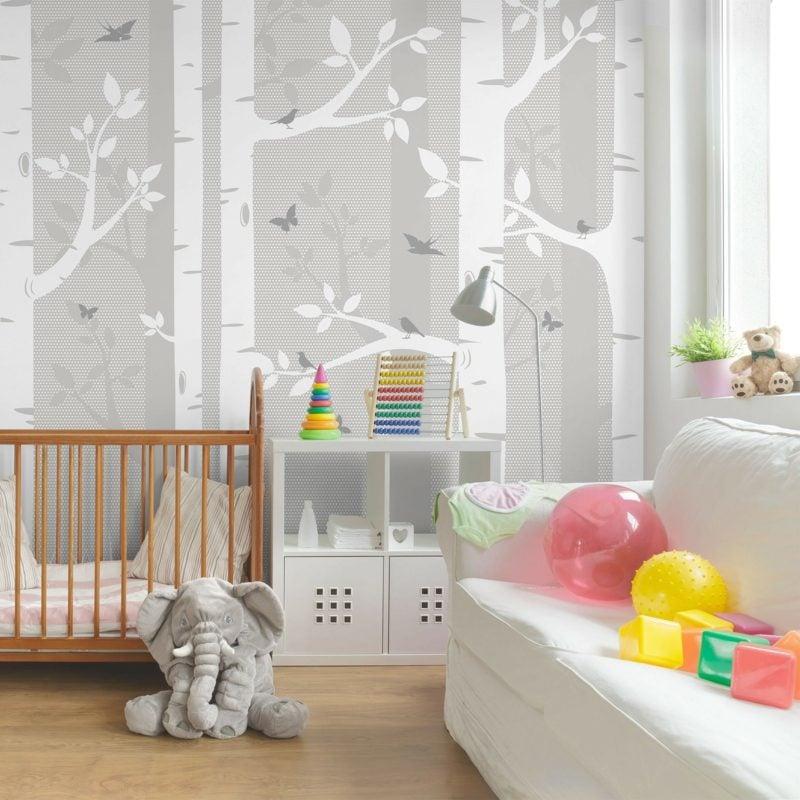 Kinderzimmer Tapeten Ideen Perlengrau Baummotiv