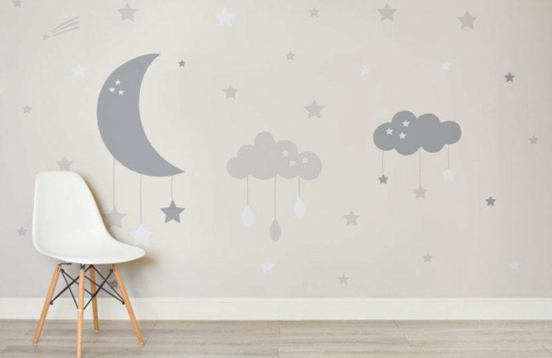 Kinderzimmer Tapeten Ideen Perlengrau Sternenhimmel