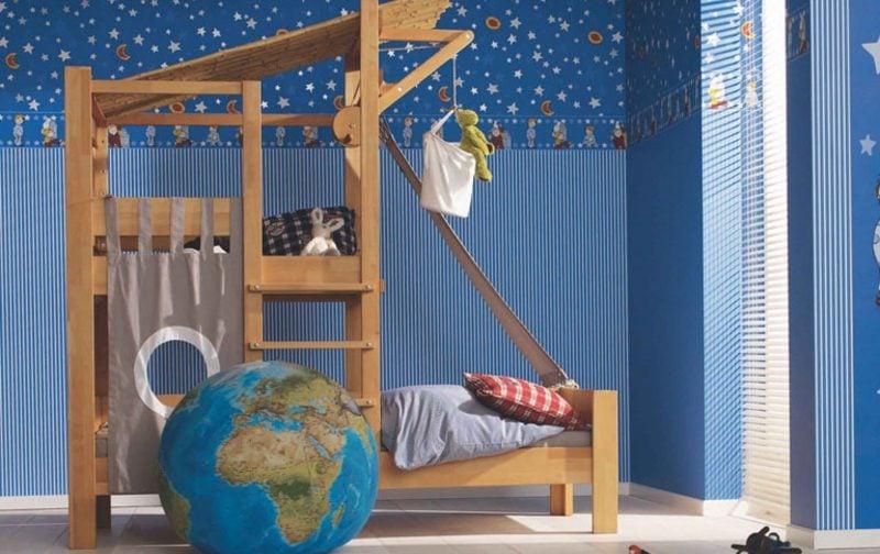 Kinderzimmer Tapeten Ideen Dunkelblau Sternenhimmel