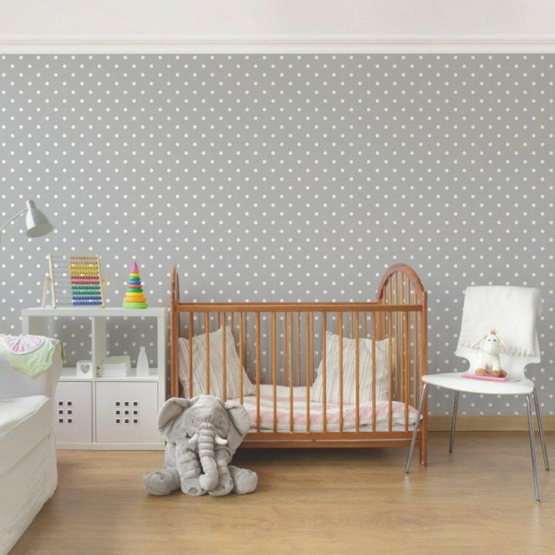 Kinderzimmer Tapeten Ideen Grau Punktenmuster