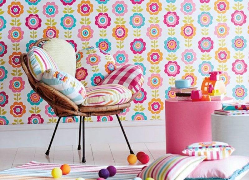 Kinderzimmer Tapeten Ideen Blumenmuster