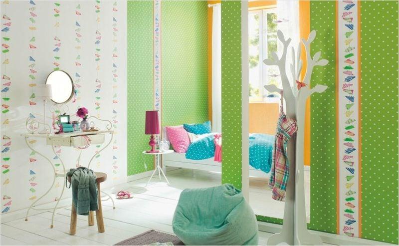 Kinderzimmer Tapeten Ideen Grün Punktenmuster