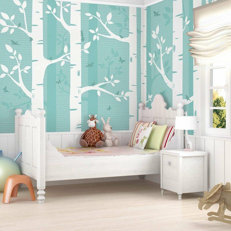 Kinderzimmer Tapeten Ideen Blau Baummotiv